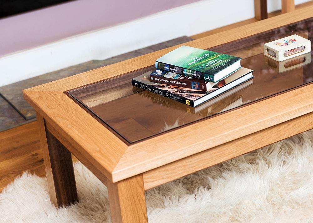 Oak and walnut coffee table