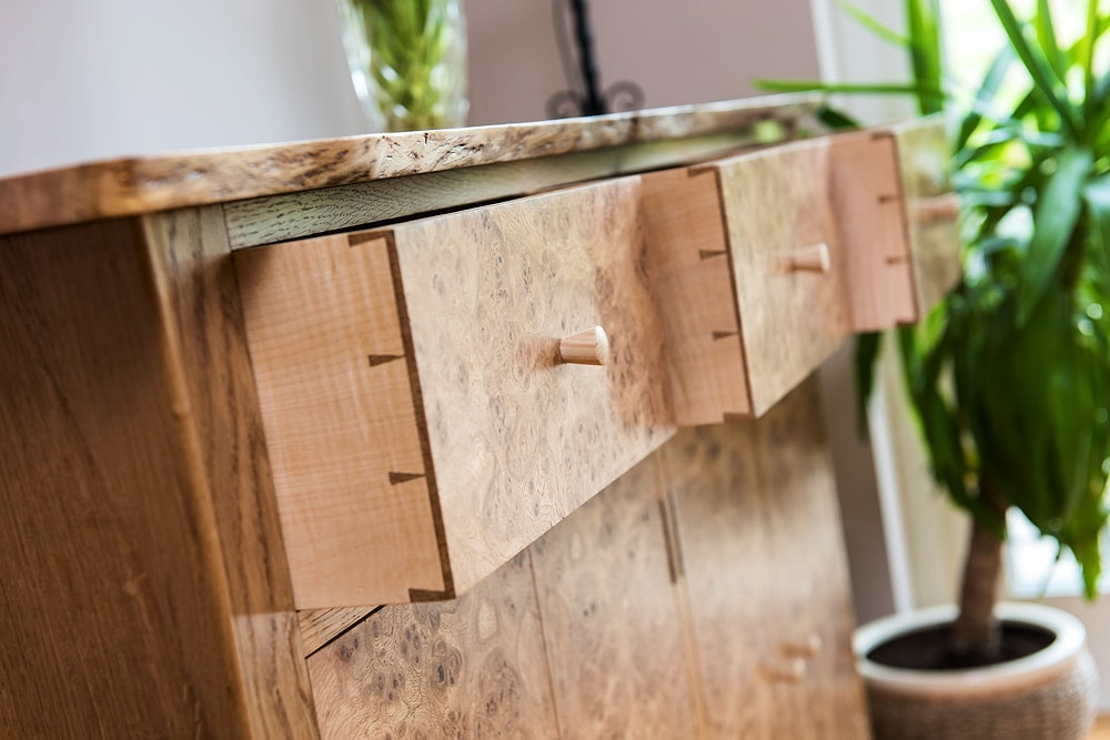 Oak burr sideboard
