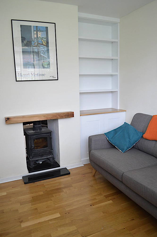 Elm and white bookcase