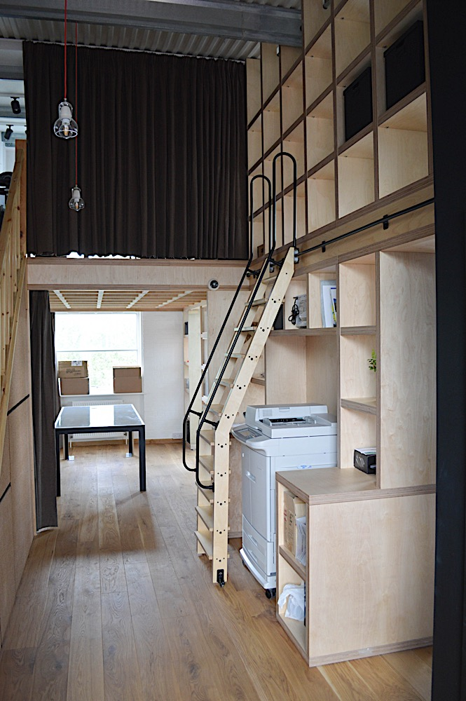 Library ladder and bookcase