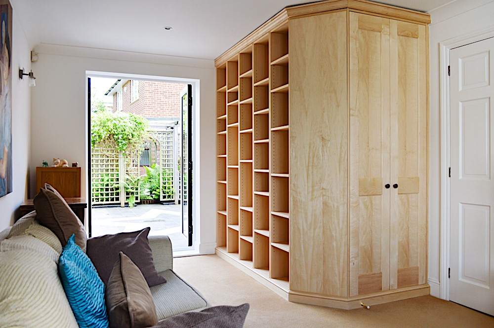 Maple bookcase and cupboard