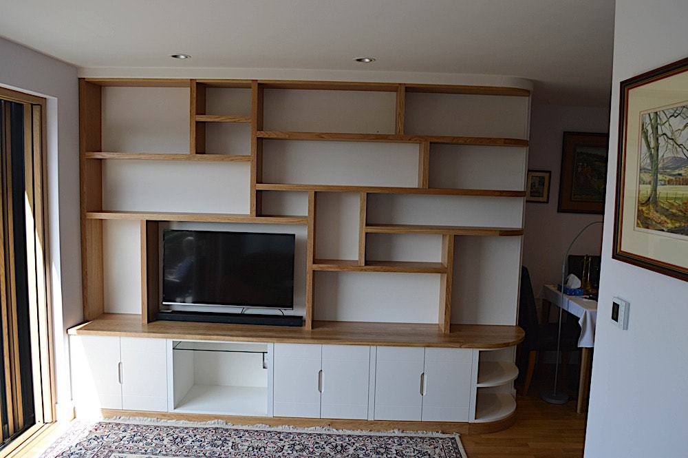 Oak and painted lounge unit