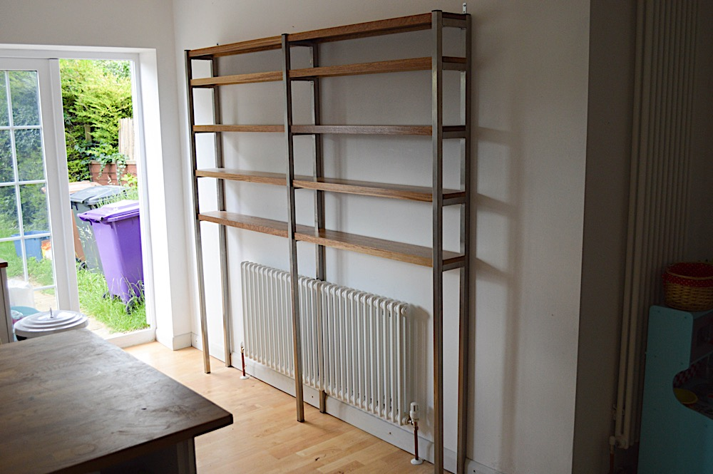 Stainless steel and oak shelving